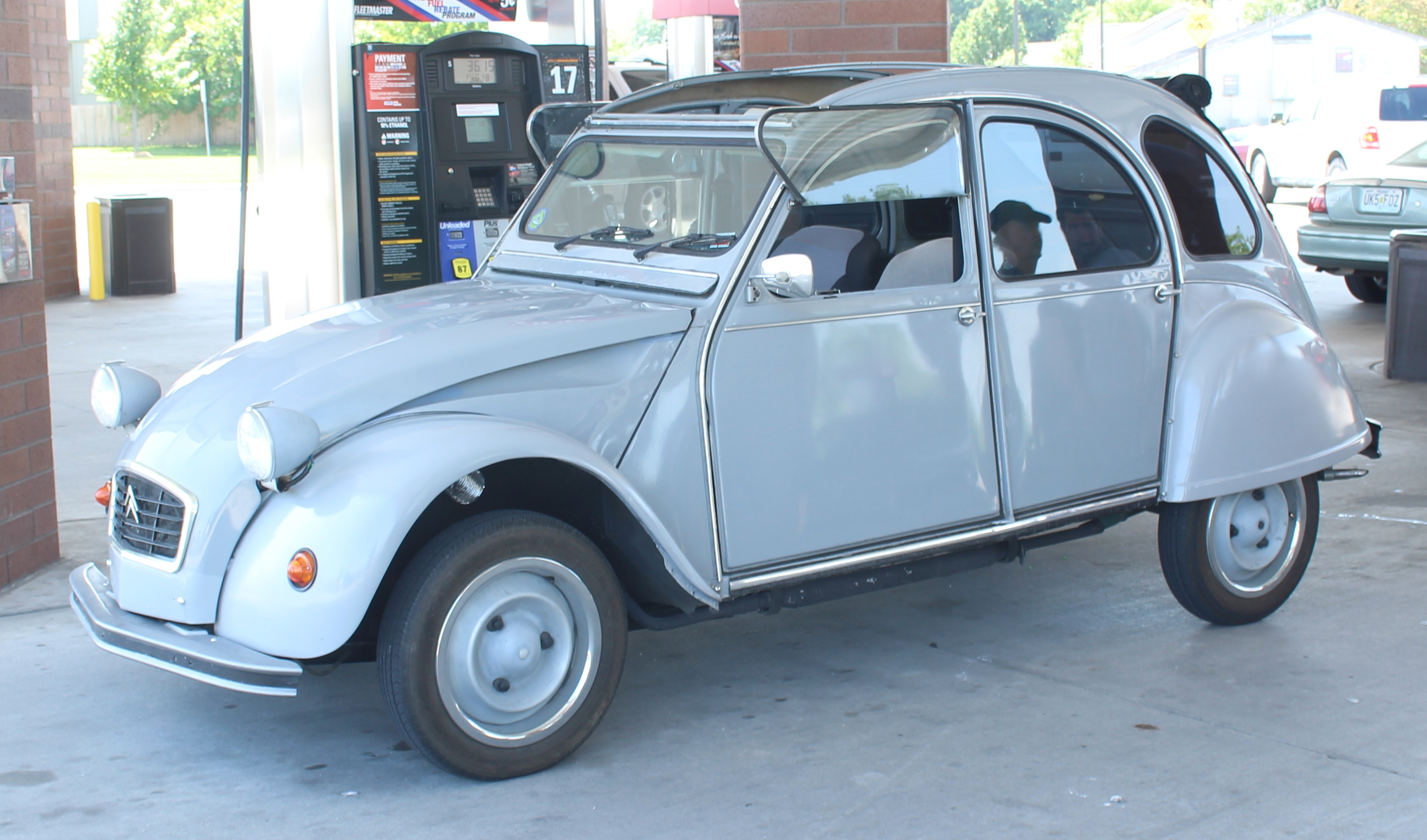 1981 Citroen 2CV, a front-wheel drive French car produced after World War II for the people. It uses a BMW motorcycle engine. This one was imported after it was 25-years old. Otherwise they were not legal to bring to the U.S.